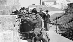 JERUSALEM, GAZA:  The soldiers of allied Arab Legion forces fire, 06 March 1948 from East sector of Jerusalem on Jewish fighters of the Haganah, the Jewish Agency self-defence force, based in Jemin Moshe quarter of the West sector of the city during during the first Arab-Jewish conflict. (Photo credit should read AFP/Getty Images)