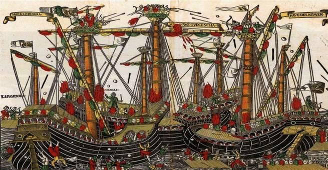 أول معركة بحرية استخدم فيها المسلمون سلاح المدفعية